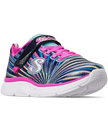 Skechers Little Girls' Wavy Lites - Sweet Sprinter Wide Width Running Sneakers from Finish Line