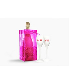 Pink Ice Bag - White Love Champagne Duo