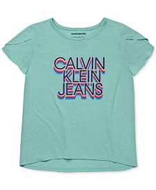 Calvin Klein Big Girls Tulip Sleeve T-Shirt