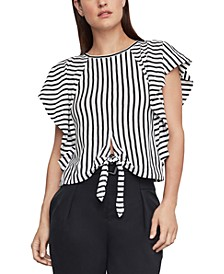 Striped Flounce-Sleeve Top