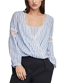 Cotton Striped High-Low Top