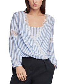 BCBGMAXAZRIA Cotton Striped High-Low Top