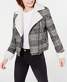 Juniors' Faux-Shearling-Trim Moto Jacket