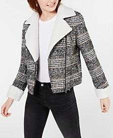 Juniors' Faux-Shearling-Trim Moto Jacket