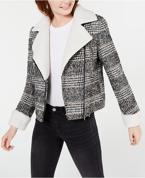 Maralyn & Me Juniors' Faux-Shearling-Trim Moto Jacket