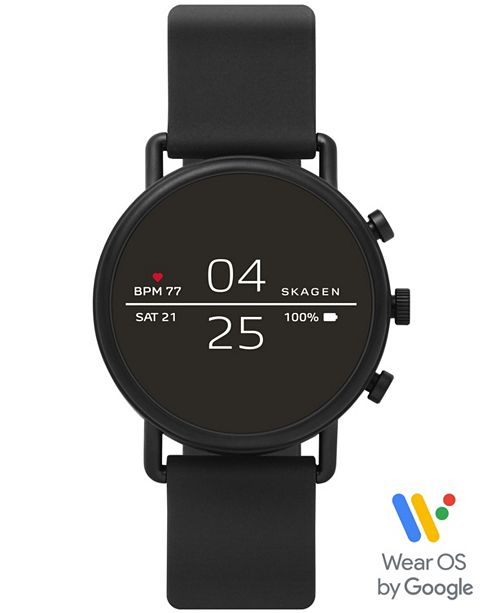 Skagen Falster 2 Black Silicone Strap Touchscreen Smart Watch 40mm, Powered by Wear OS by Google™