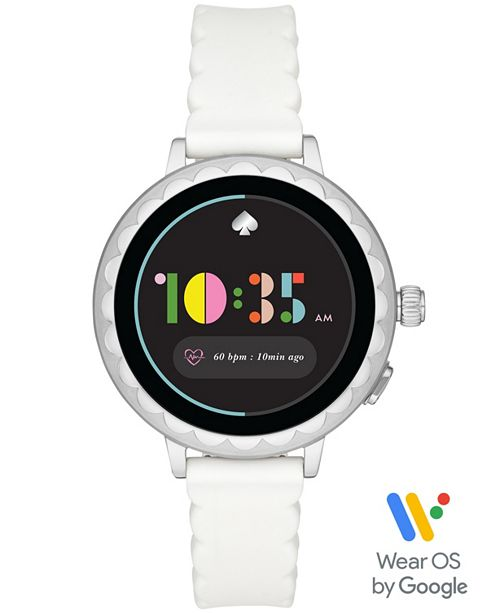 kate spade new york Women's Scallop 2 White Silicone Touchscreen Strap Watch 41mm, Powered by Wear OS by Google™