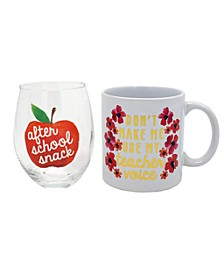 Teacher Before & After School Stemless Glass & Mug Gift set