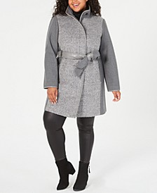 Plus Size Faux-Leather-Belt Coat, Created For Macy's