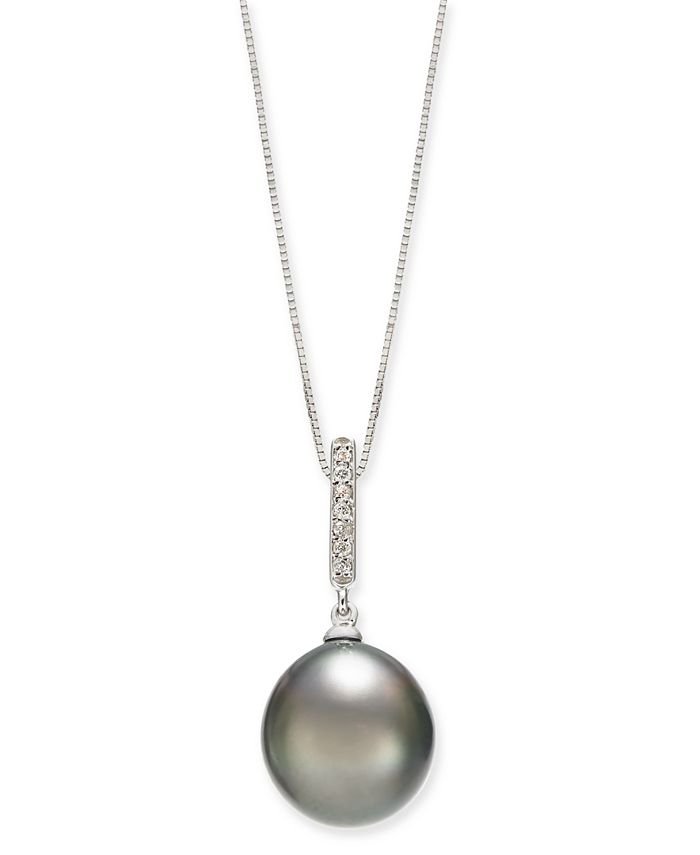 """Macy's - Cultured Tahitian Pearl (10mm) & Diamond Accent 18"""" Pendant Necklace in 14k White Gold"""