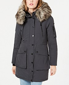 Faux-Fur Trim Hooded Anorak Puffer Coat