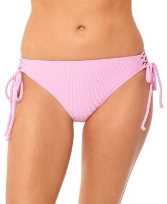 Juniors' Textured Side-Tie Hipster Bikini Bottoms, Created for Macy's