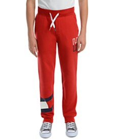 Tommy Hilfiger Big Boys Kent Logo-Print Red Fleece Sweatpants