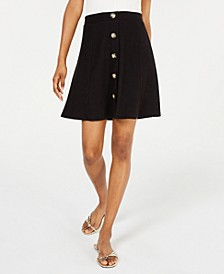 Juniors' Button Front Mini Skirt