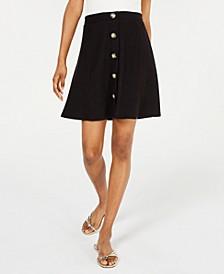 Juniors' Button Front Mini Skirt