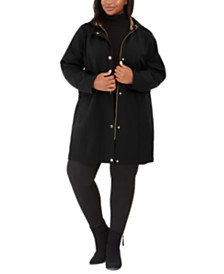 Via Spiga Plus Size Raincoat with Leopard-Print Hood, Created For Macy's