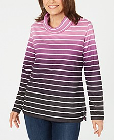 Sport Ombré Striped Cowlneck Top, Created for Macy's