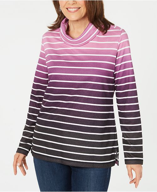 Karen Scott Sport Ombré Striped Cowlneck Top, Created for Macy's