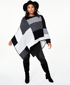 Charter Club Plus Size Colorblock Cashmere Poncho, Created for Macy's
