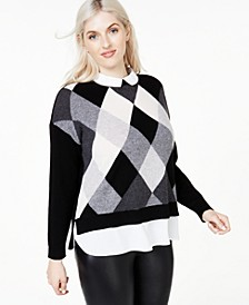 Plus Size Argyle Cashmere Layered-Look Sweater, Created for Macy's