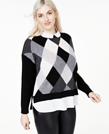 Charter Club Plus Size Argyle Cashmere Layered-Look Sweater, Created for Macy's