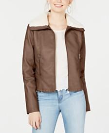 CoffeeShop Juniors' Faux-Fur-Collar Moto Jacket, Created for Macy's