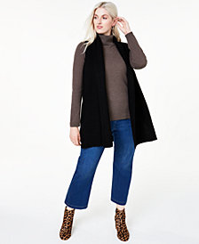 Charter Club Plus Size Sleeveless Ribbed-Knit Cashmere Sweater, Created for Macy's