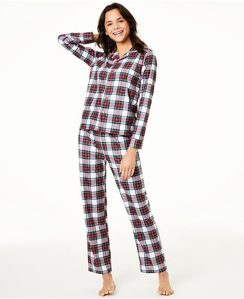 Family Pajamas Matching Women's Stewart Plaid Pajama Set, Created For Macy's