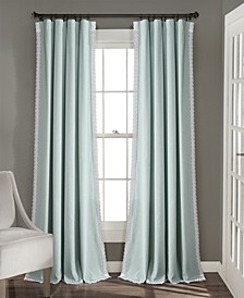 "Rosalie 54"" x 120"" Lace Trim Curtain Set"