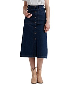 High-Rise Button-Up Midi Jean Skirt