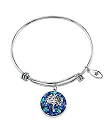 Unwritten Crystal Tree Adjustable Bangle Bracelet in Stainless Steel