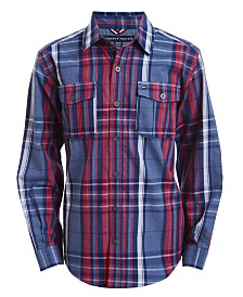 Tommy Hilfiger Big Boys Billy Logo-Print Plaid Twill Shirt
