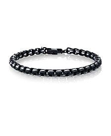 Black Silver-Tone Link Bracelet in Stainless Steel