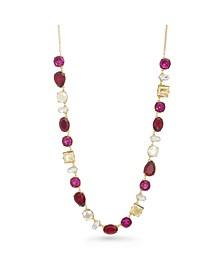 Women's Red Rhinestone Tone Chain Necklace