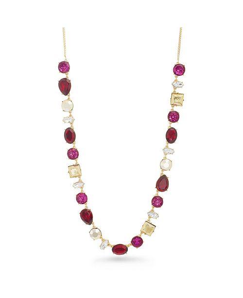 Catherine Malandrino Women's Red Rhinestone Tone Chain Necklace