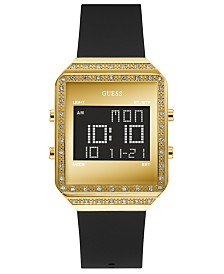 GUESS Women's Digital Black Silicone Strap Watch 35x47.5mm