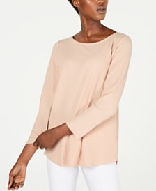 Eileen Fisher Tencel Ballet-Neck Ribbed Top