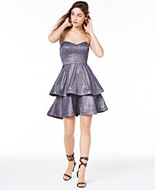 Juniors' Strapless Tiered Metallic Dress