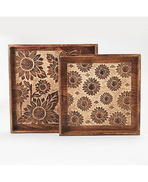 Two's Company Sunflower Fields Hand-Carved Nested Trays - Set of 2