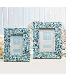 Terrazzo Blue Tones Mother of Pearl Photo Frames - Set of 2