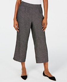 Eileen Fisher Organic Linen Micro-Check Cropped Pants