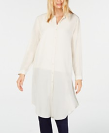 Eileen Fisher Silk Mandarin-Collar Button-Up Tunic