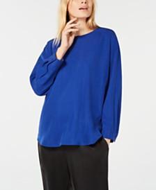Eileen Fisher Shirttail-Hem Tencel Blouse
