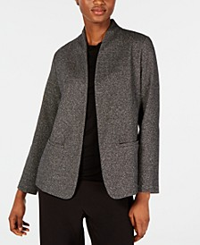 Stand Collar Open-Front Organic Cotton Blend Blazer