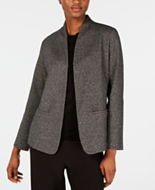 Eileen Fisher Stand Collar Open-Front Organic Cotton Blend Blazer