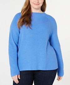 Eileen Fisher Plus Size Funnel-Neck Organic Cotton Top