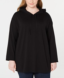 Eileen Fisher Plus Size Organic Cotton Hooded Top