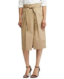Lauren Ralph Lauren Petite Belted Twill Skirt