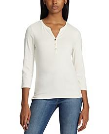 Petite Stretch Henley T-Shirt