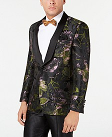 Men's Slim-Fit Black/Green Floral Jacquard Dinner Jacket